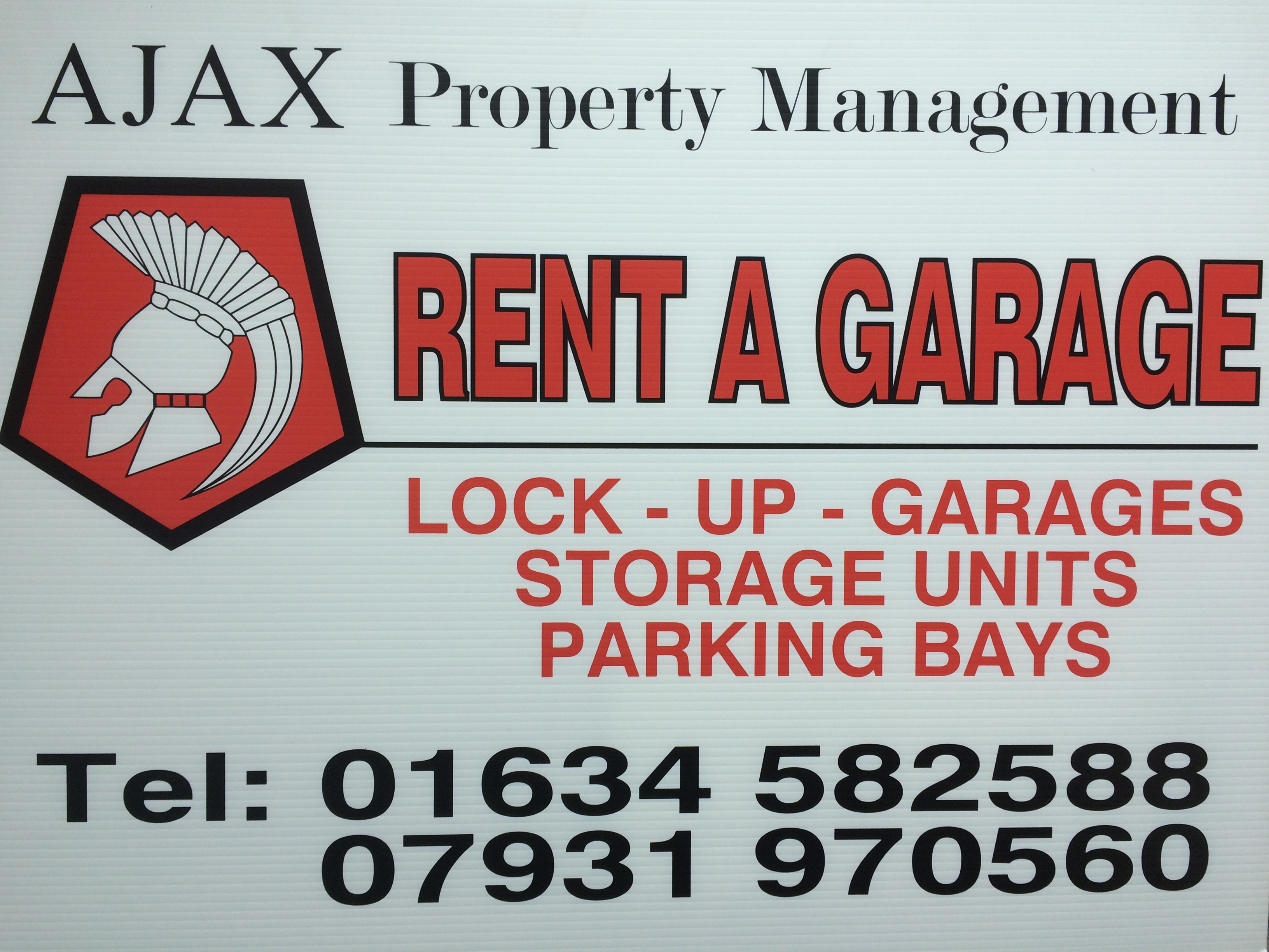AJAX Property Management,lock up garage rentals, storage units, parking bays in  Medway, Chatham, Gillingham, Rochester, Rainham, Ashford, Tonbridge, Ramsgate, Kent  & Sussex